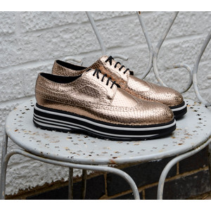 Grand Striped Sole Brogues Metallic Gold