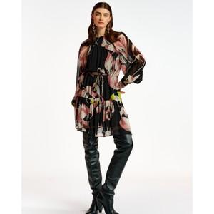 Aubrey Long Sleeve Floral Sheer Dress Black/Multi