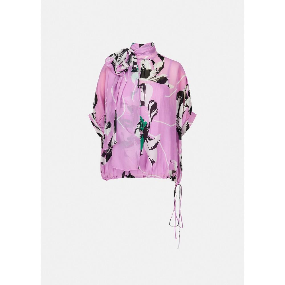Essentiel Antwerp Archives Tie Back Neck Floral Top Lilac Rain/Multi