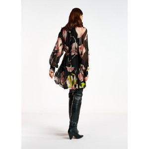 Essentiel Antwerp Aubrey Long Sleeve Floral Sheer Dress Black/Multi