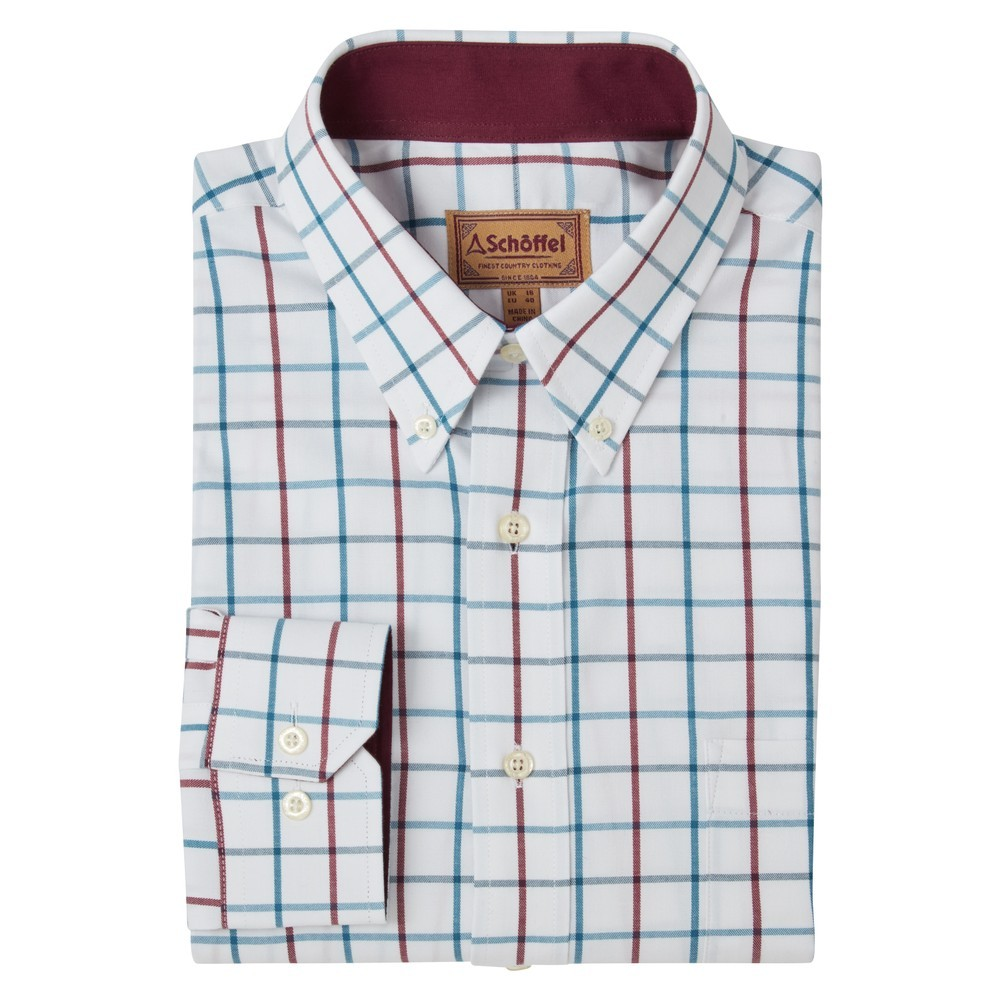 Schoffel Country Brancaster Shirt Bordeaux/Dark Teal Wide