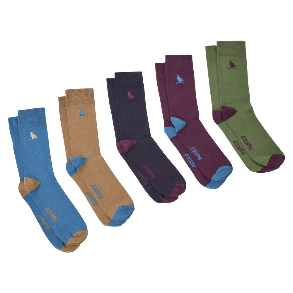 Schoffel Country Combed Cotton Socks-Box of 5 Ptarmigan Dark Teal Mix