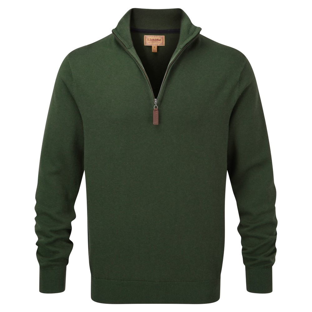 Schoffel Country Cotton Cashmere 1/4 Zip Racing Green