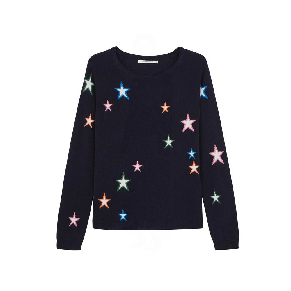 Chinti And Parker 3D Star Slim Fit Sweater Navy/Multi