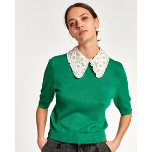 Antigua Short Sleeve Lace Collar Jumper Green Machine