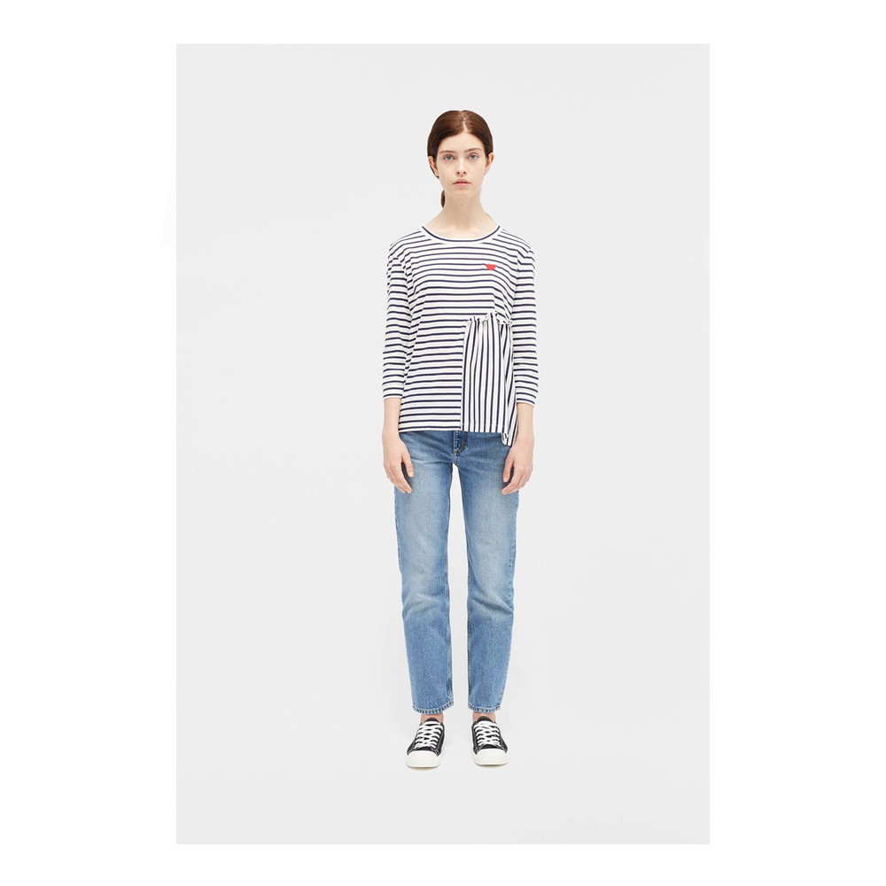 Chinti And Parker Frill Long Sleeve Frill Panel Tee Navy/White Stripe
