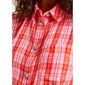 Essentiel Antwerp Almond Puff Sleeve Check Shirt Lipstick Wonder