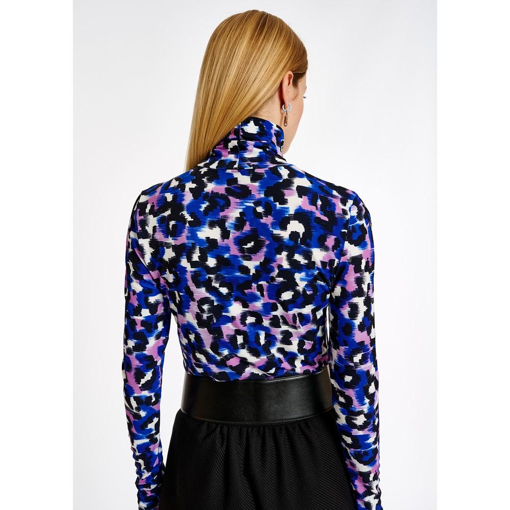 Essentiel Antwerp Ali High Neck Long Sleeve Printed Top Klein Blue/Multi