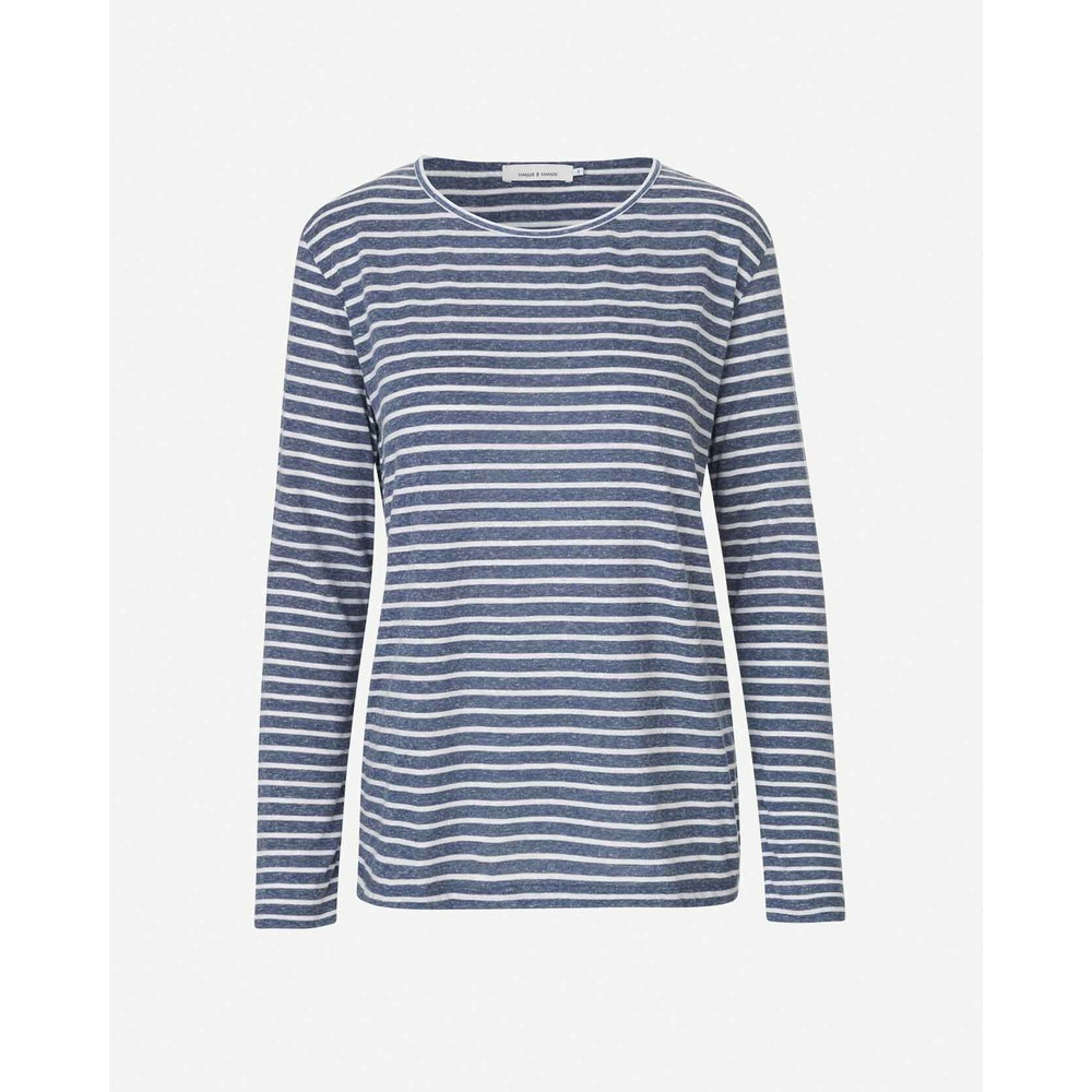 Samsoe Samsoe Nobel Stripe Long Sleeve T-Shirt Blue Stripe