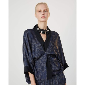 Caracas Paisley Kimono Black/Grey/Navy