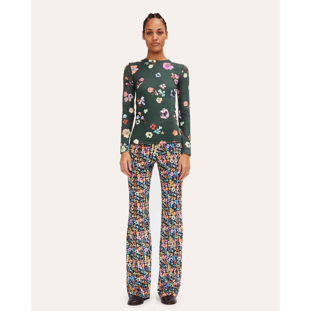 Stine Goya Andy Floral Velvet Trousers Flower Euphoria