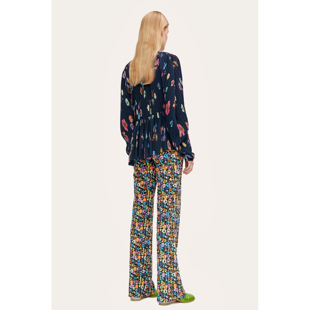 Stine Goya Luni Pleated Floral Top Flowers Live At Night