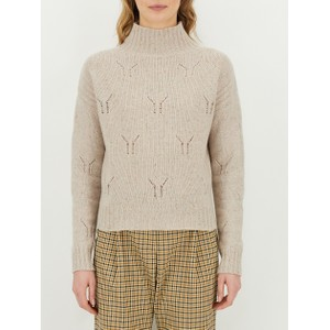 Trina  High Neck Mesh Knit Sweater Beige/Gold/Silver Fleck