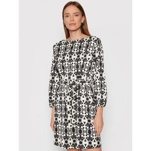 Adorato Long Sleeve Patterned Mini Dress Black/Off White