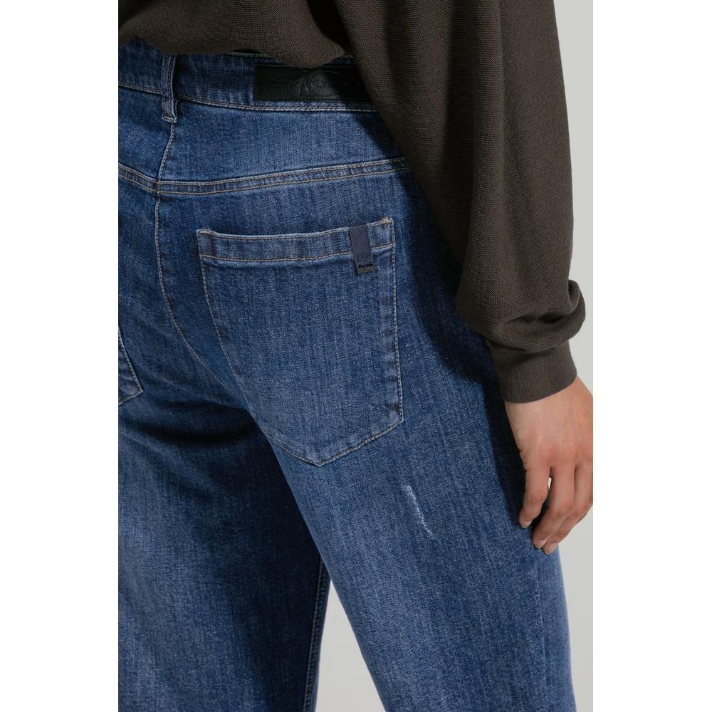 Luisa Cerano Large Turn Up Crop Jeans Denim Blue