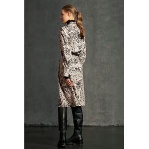 Luisa Cerano Long Sleeve Printed Shirt Dress w Belt Ecru/Black