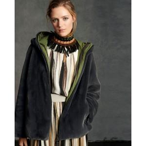 Hooded Faux Fur Jacket Greenish Grey