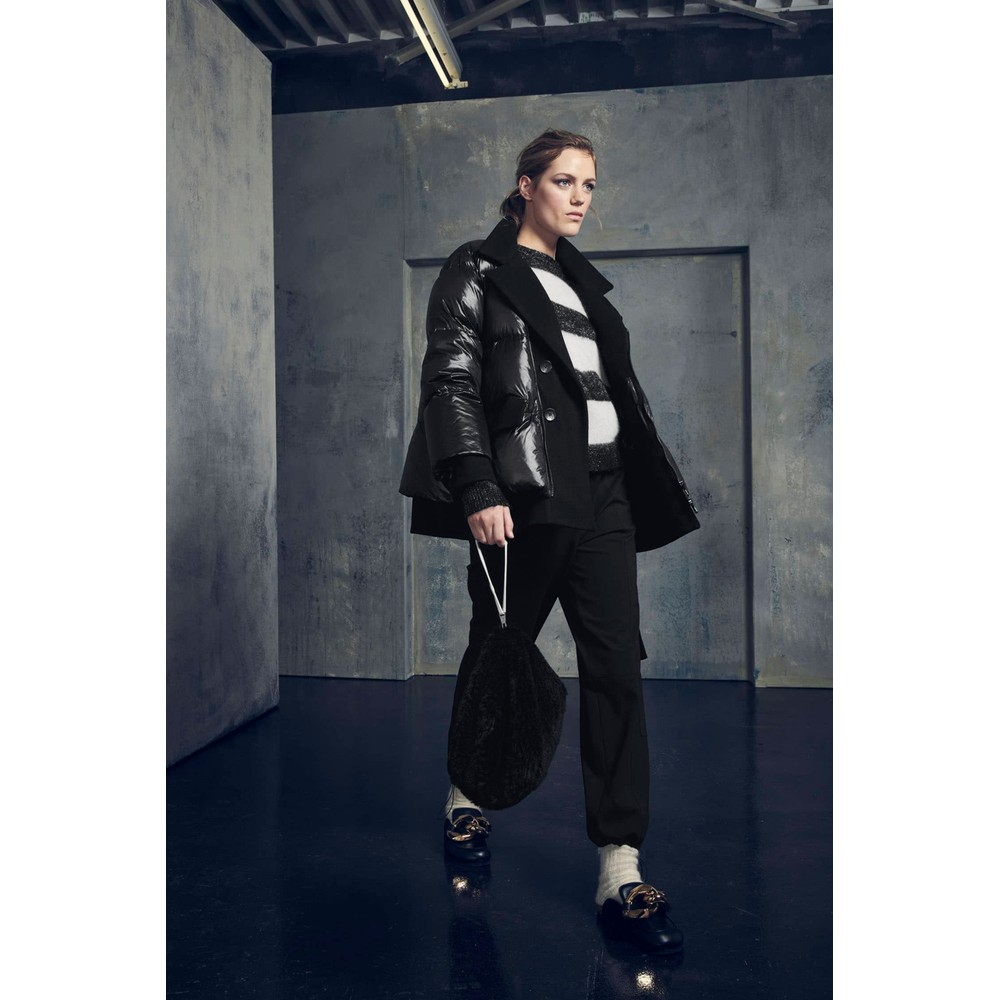 Luisa Cerano Lurex Stripe Fine Knit Jumper Black/Light Pink