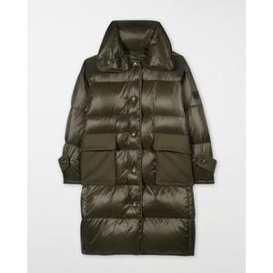 Long Down Wool Pocket Coat Green