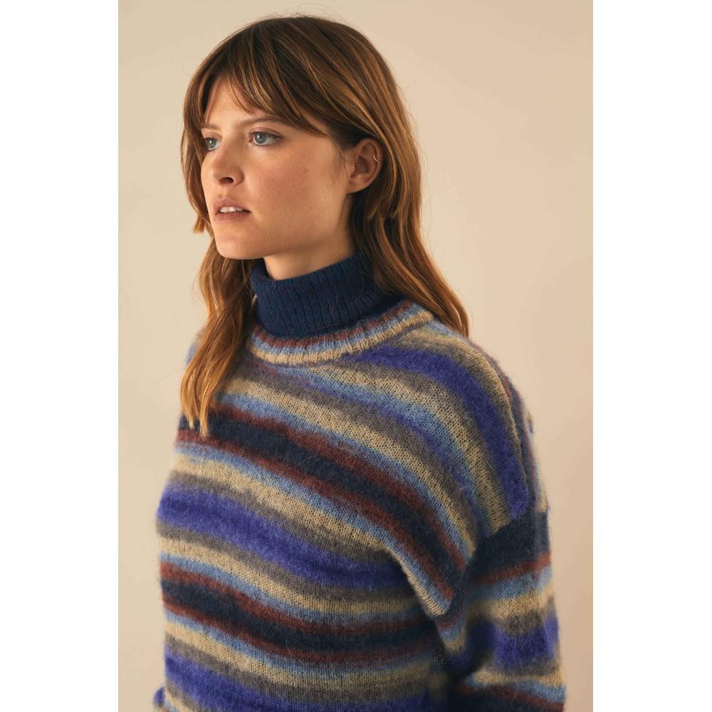 Leon & Harper Mona Stripe Fine Knit Jumper Blue/Multi