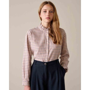 Greta Ruffle Neck Check Shirt Multi Check