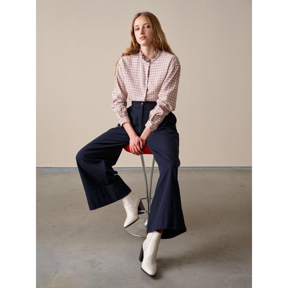 Bellerose Greta Ruffle Neck Check Shirt Multi Check