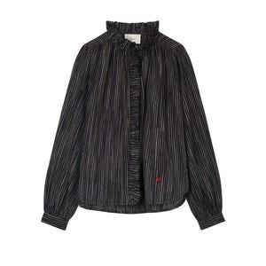 Chypre Long Sleeve Ruffle Pinstripe Shirt Black/Iris