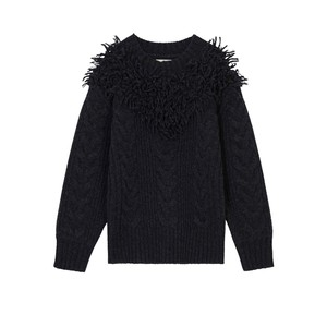 Nouvel Cable Knit Fringed Jumper Charcoal