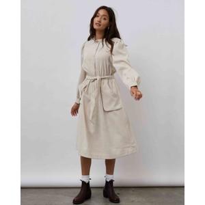 Karlo Long Sleeve Cord Dress Creme