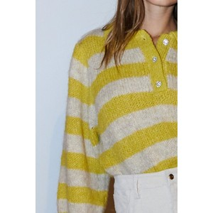 Lollys Laundry Dylan Stripe Button Neck Jumper Yellow