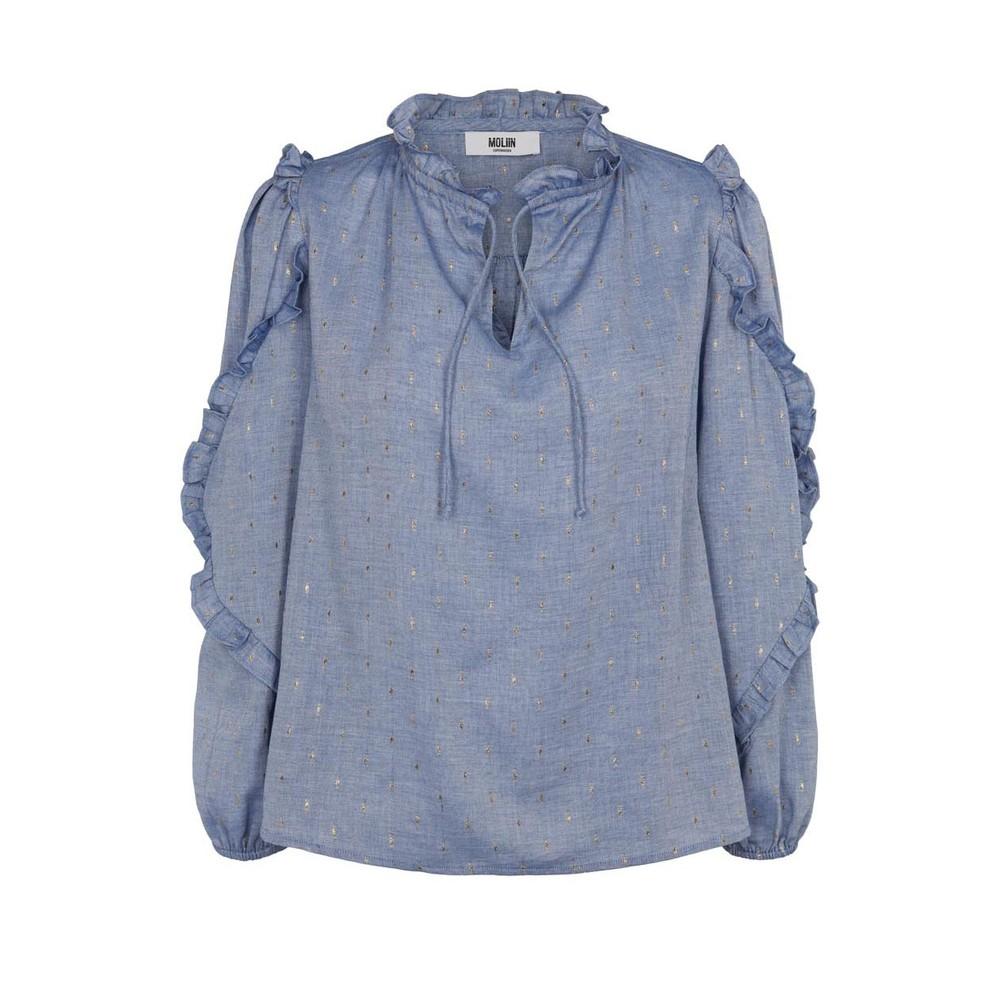 Moliin Taylor Long Sleeve Ruffle Detail Top Chambray Blue