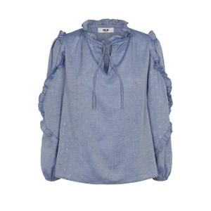 Taylor Long Sleeve Ruffle Detail Top Chambray Blue
