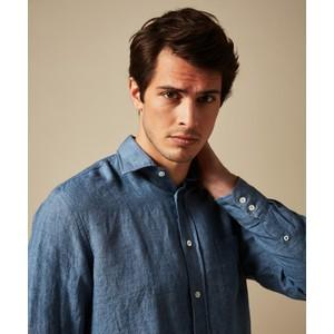 Hartford Paul Woven Cotton Shirt Denim Blue