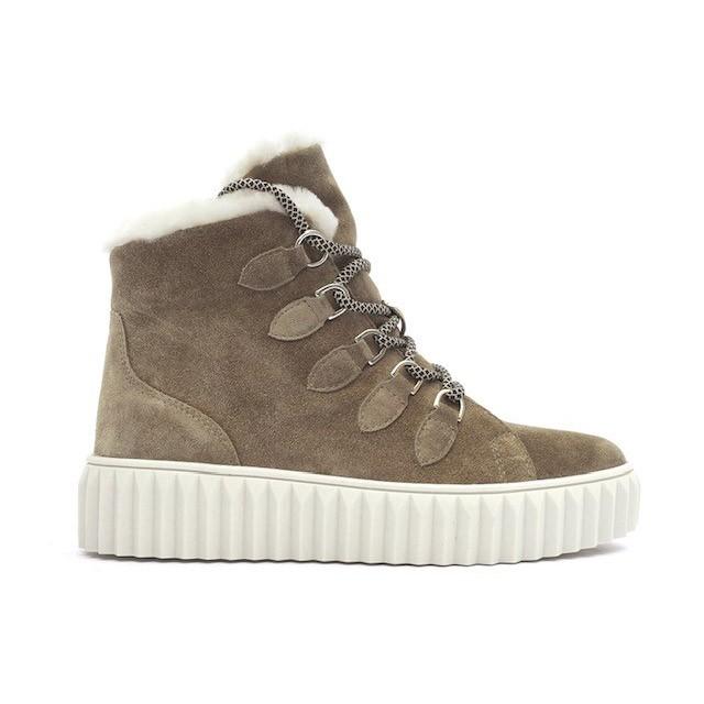 Alpe Faux Fur Lined Lace Up Shoe Khaki