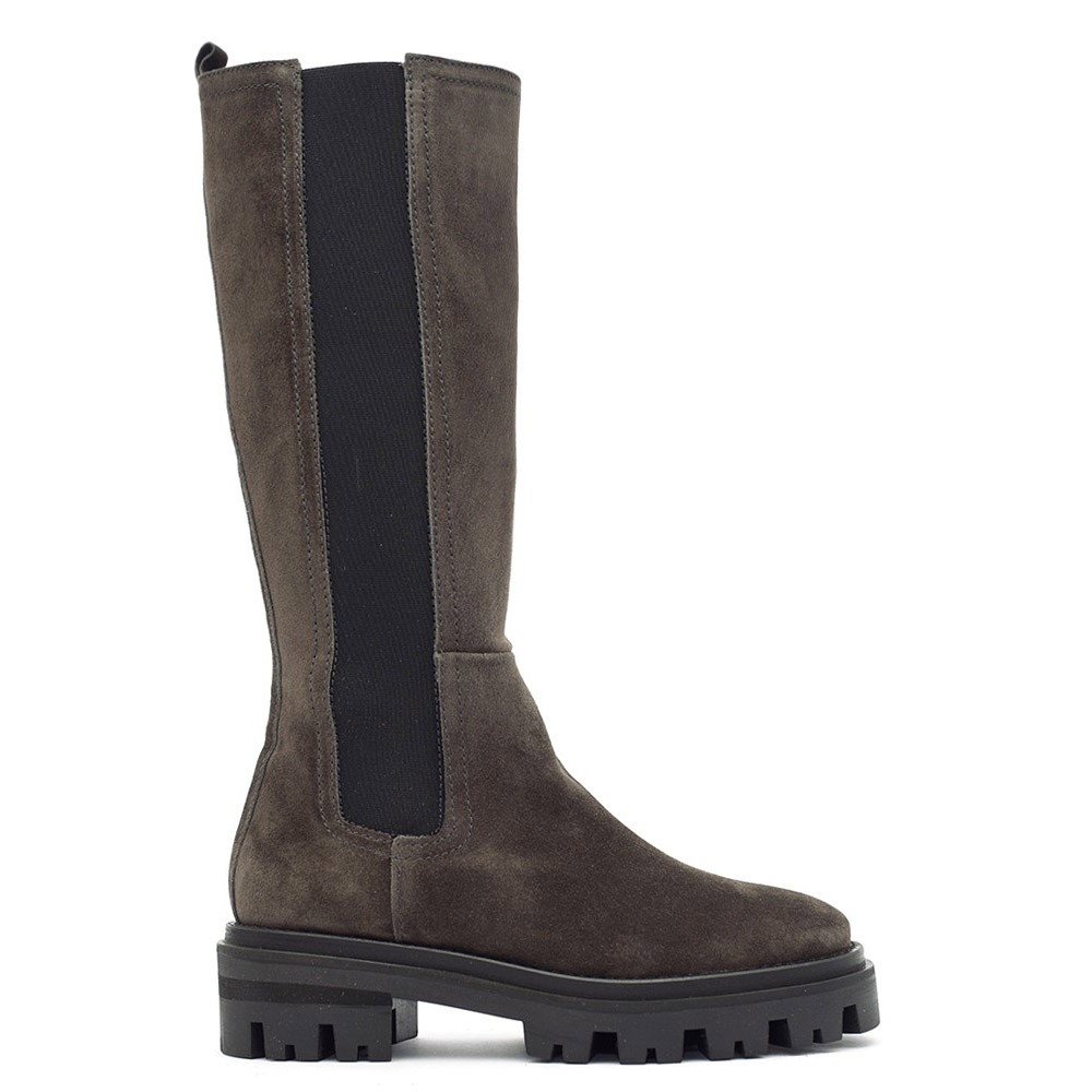 Alpe Tall Suede Chunky Sole Boot Magnet