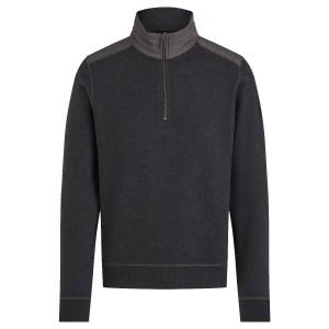 Belstaff Jaxon Quarter Zip Sweater in Dark Charcoal Melange