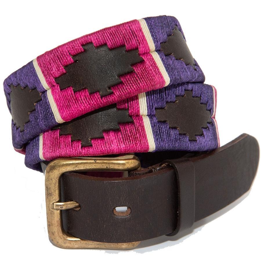Pioneros Polo Belt Purple/berry/white stripe