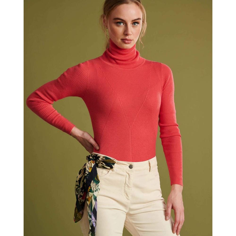 Pom Turtleneck Fine Knit Jumper Hot Pink