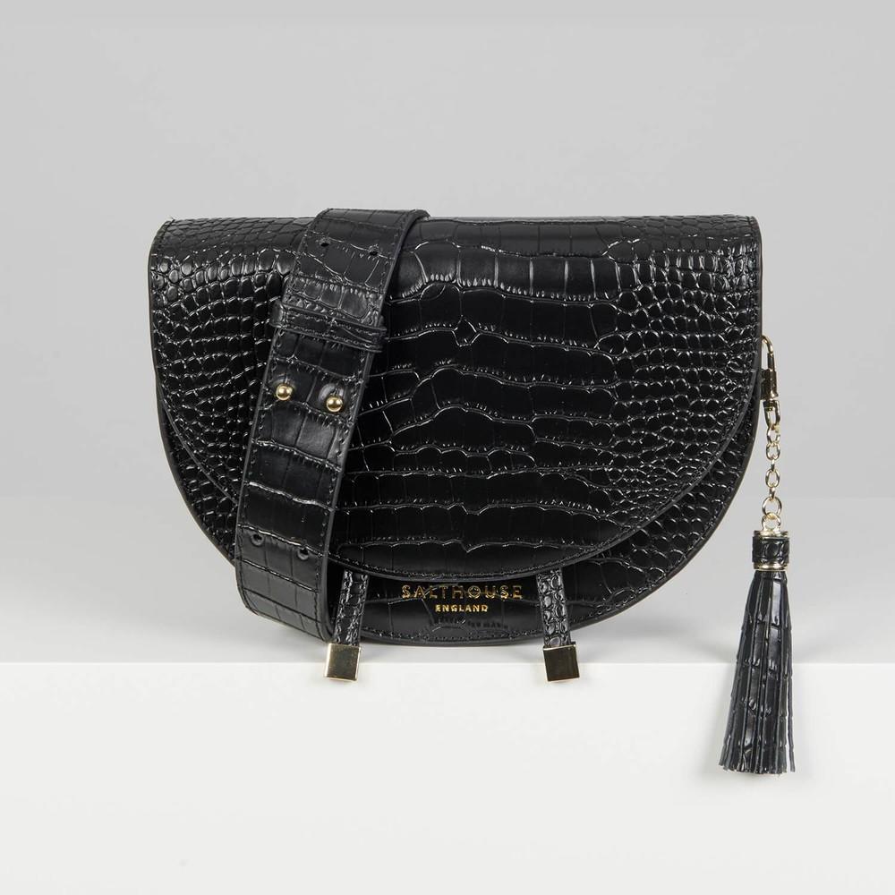 Salthouse Floriana Croc Crossbody Noir
