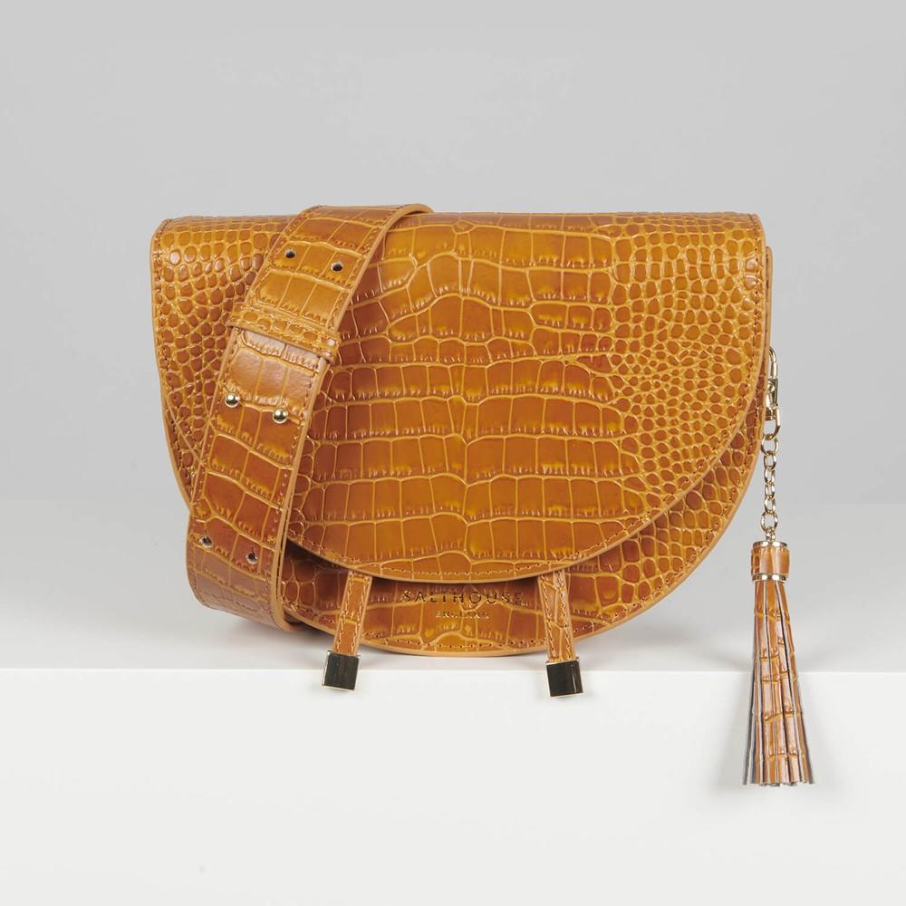 Salthouse Floriana Croc Crossbody Honey