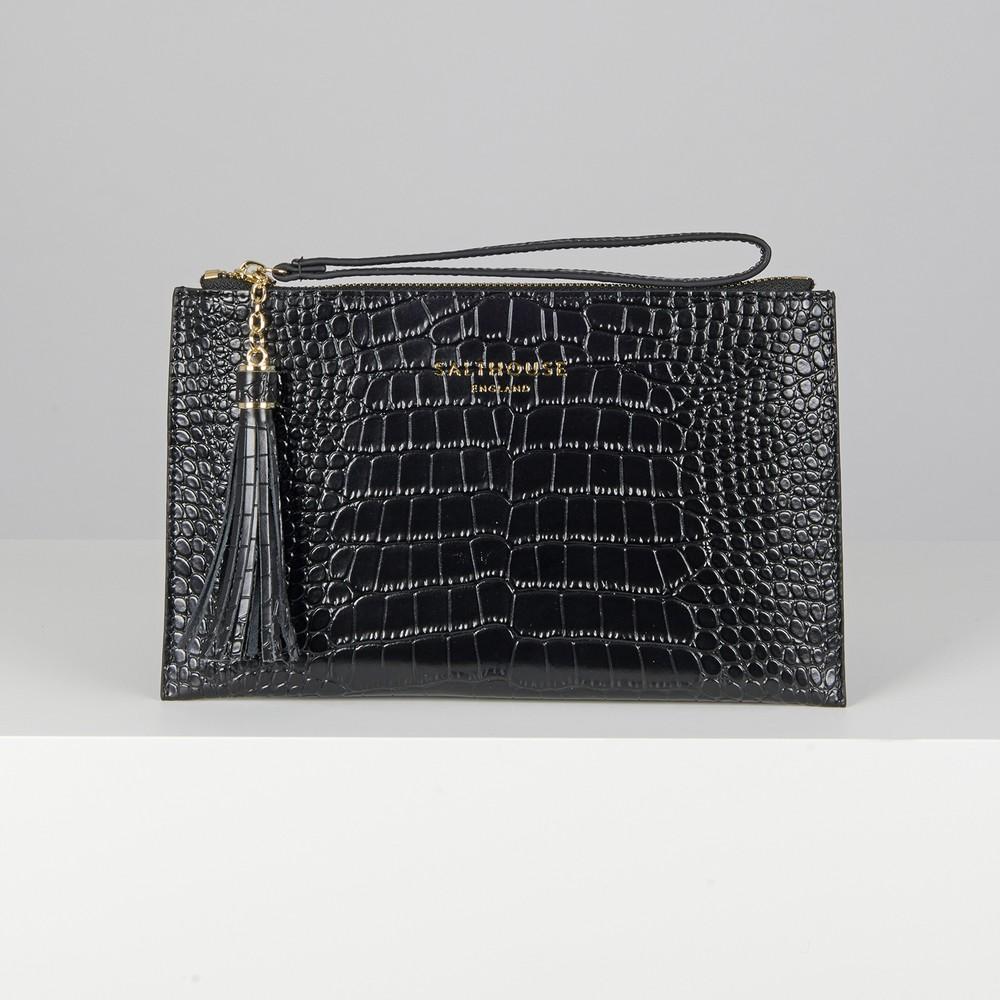 Salthouse Serafina Croc Clutch Noir