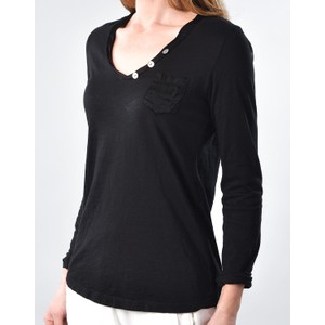 Pocket Long Sleeve Top With Buttons Black
