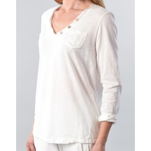 Pocket Long Sleeve Top With Buttons White