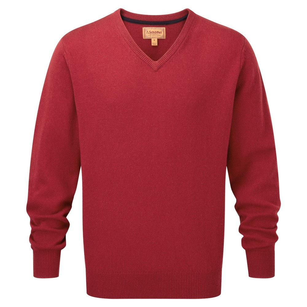 Schoffel Country Lambswool V Neck Jumper Bordeaux