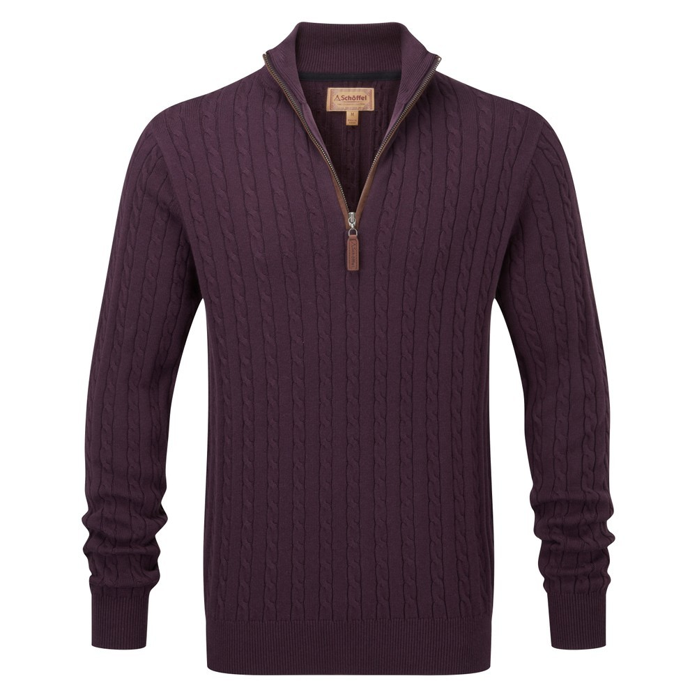Schoffel Country Cotton/Cashmere Cable 1/4 Zip Aubergine
