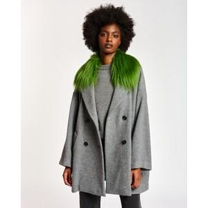 Apparel Faux Fur Trim Coat Smoky Grey