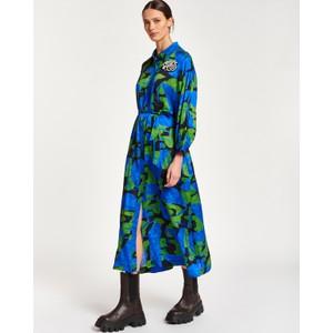 Apart Print Belted Shirt Dress Klein Blue/Multi