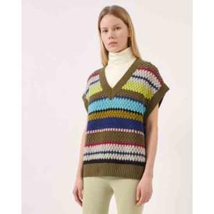Coletta Stripe V Neck Knit Vest Rainbow