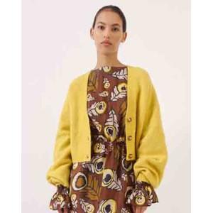 Chasmeen Balloon Sleeve Crop Cardigan Oil Yellow Melange