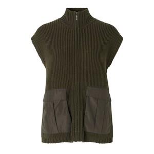 Casey Knit Zip Vest  Army